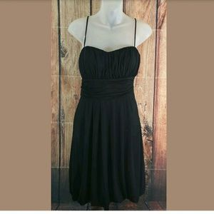 B Moss Black Pleated Dress Womens Size Medium