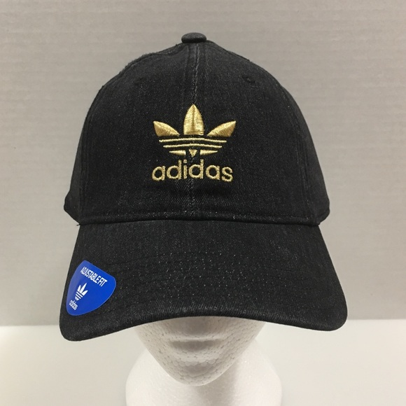 8b9f700743c Adidas Dad Cap Black denim gold trefoil logo