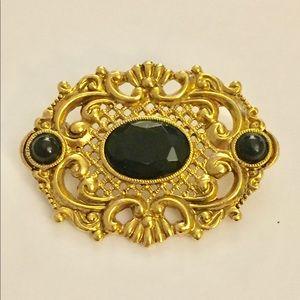 1928 Victorian inspired brooch gold black