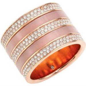 Michael Kors Blush/Crystal Rose Gold Tone Ring  6