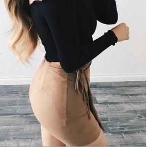 Mocha Suede Skirt