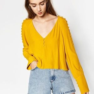 Zara mustard cropped blouse buttons on arms