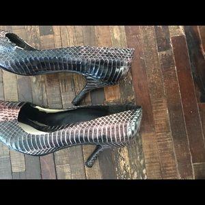 Nine West purple snake print heels
