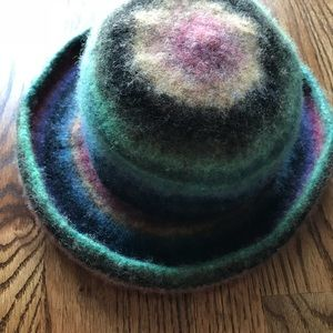 Hand knit wool felted hat