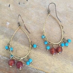 Gold color Drop Earnings Turquoise and Brown Beads