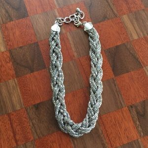 Silver braided statement necklace