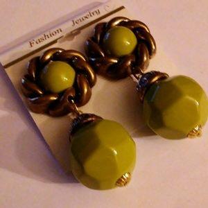 Drop Dangle Ear Clipons Green or Brown