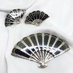 🆕Sterling Silver Siam Niello Fan Pin & Earrings