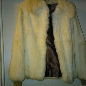Cream colored rabbit vintage fur coat