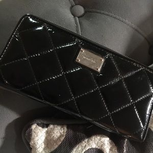 Michael Kors Quilted Black Patent Leather Wallet