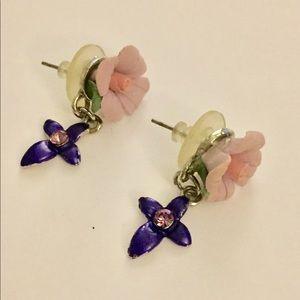 Porcelain rose dangle earrings