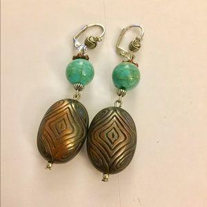 Copper turquoise dangle earrings