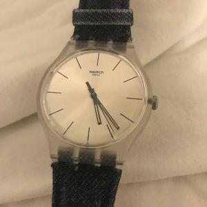 Swatch watch with denim band💕
