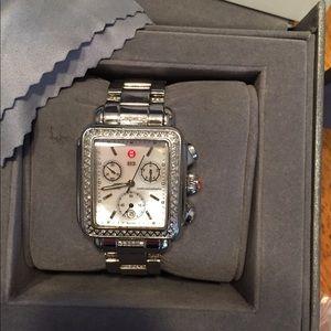 Michele diamond deco watch with diamond band