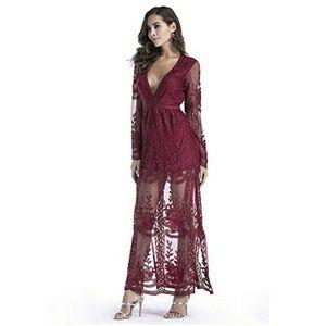 ada2c70d9c0f Dresses - Red Long Sleeve Lace Maxi Romper