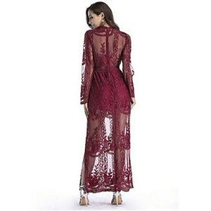 7ad38043e267 Dresses - ♥️Red Long Sleeve Lace Maxi Romper