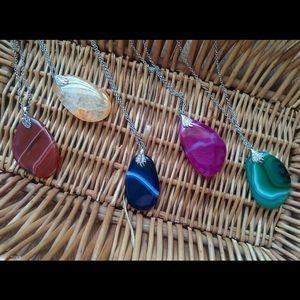 "Agate Pendant /Handmade Jewelry/ 12"" long chain"