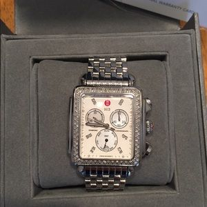 Michele XL diamond deco watch
