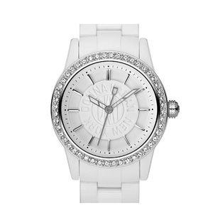 New! DKNY Bejeweled Sparkly White Women's Watch