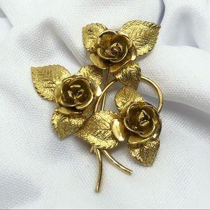 🆕Vintage Marked 12K Gold-Filled 3 Roses Pin 🌹