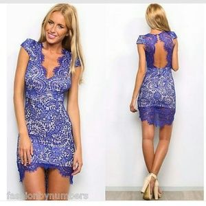 Angel Biba Lace Bodycon Dress Cobalt Blue