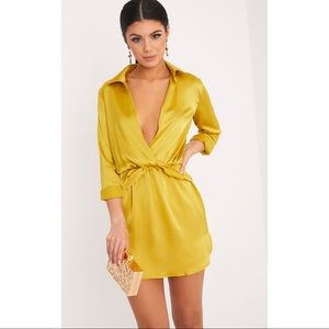 Dark Lime Twist Front Silky Shirt Dress