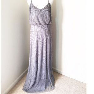 Adrianna Papell Silver full length ball gown