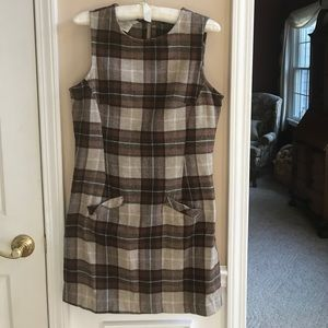 Esprit Wool Blend Plaid Jumper Dress