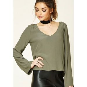 NWT Olive Crepe Bell-Sleeved Top
