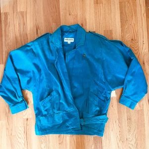 Vintage 1980s Teal Suede Bomber Jacket