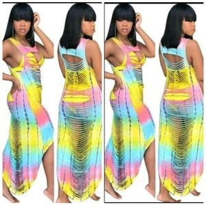 Multicolored cut out dress/cover up
