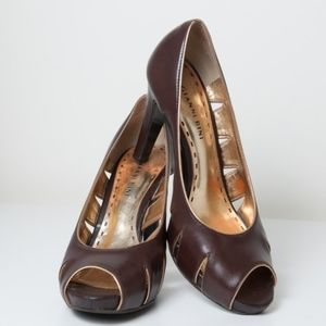 Gianni Bini Brown Peep Toe Heels With Cutouts 8.5