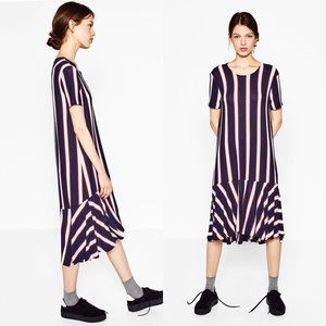 Zara STRIPED DRESS WITH FRILL