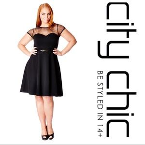 City Chic Mesh Contrast Fit and Flare Dress