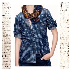 J. Crew Keeper Chambray Shirt Dark Wash Stars Dots