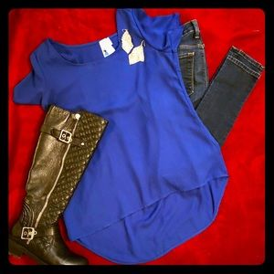 Super Cute Society Girl Royal Blue Hi Low Fit Top