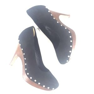 Dolce Vita black suede wood heel shoes 8 1/2