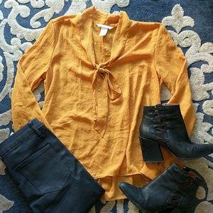 Retro Pussybow mustard shirt
