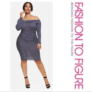 Fashion to Figure Striped Off the Shoulder Dress