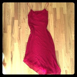 1990s Silk Red Dress with Satin Lining