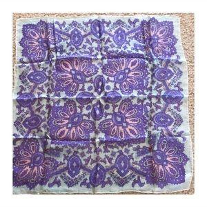 Vintage 100% Silk Floral Print Scarf