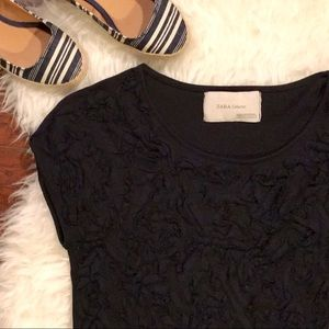 Zara Dark Navy Ruffle Embossed Blouse