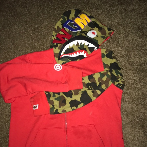 ff872bec Bape Sweaters | Ape First Camo Shark Full Zipup Hoodie Red | Poshmark