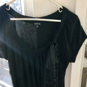 Black Blouse with Neck Tie