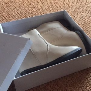 Ivory wedge booties F21