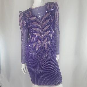 Vintage Purple Sequins Beaded Dress Small