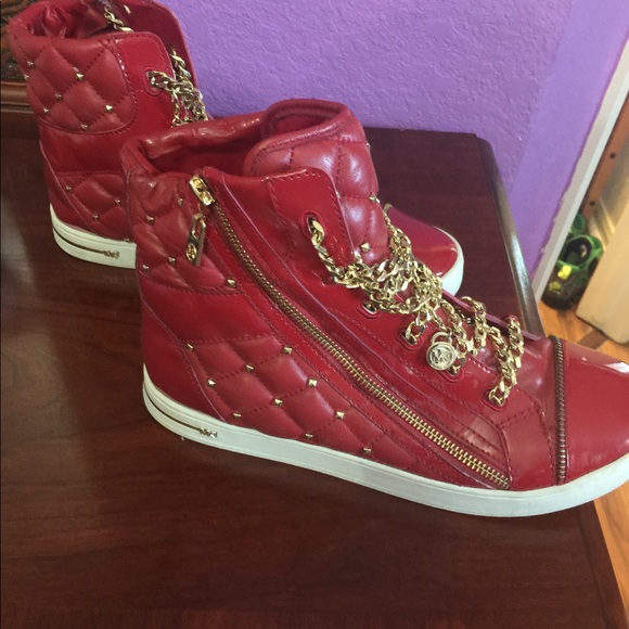 Michael Kors Womens MK Quilted High Tops in Red