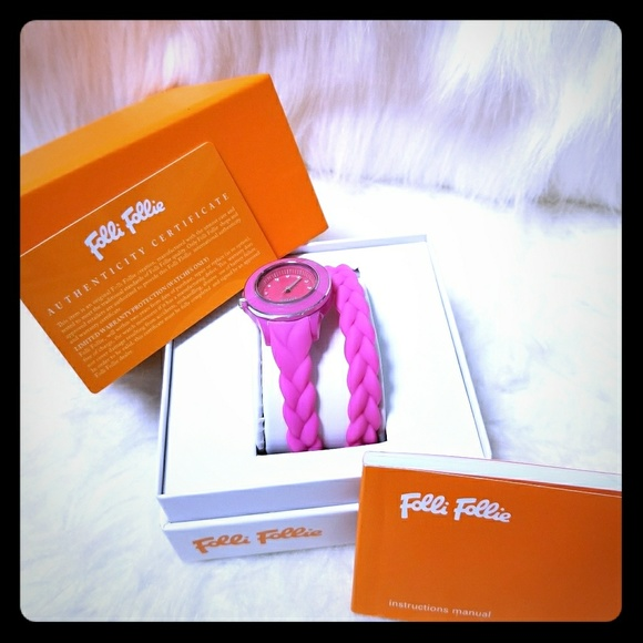 Folli Follie Accessories Pink Braided Double Band Rubber Watch
