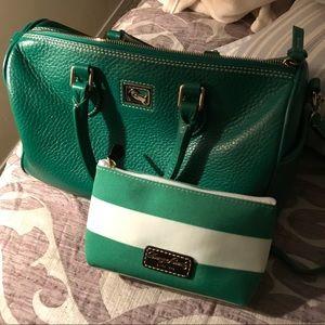 Dooney Bourke GREEN satchel & NEW DB make up bag