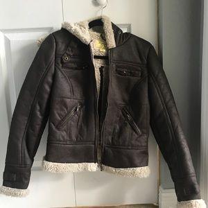 Brown Jacket/ Faux Fur Back NWT